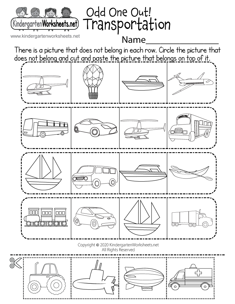 Land, Water, or Air Transportation Worksheet - Odd One Out