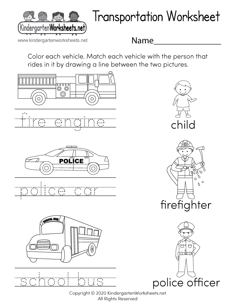 Transportation Worksheet - Free Kindergarten Learning Worksheet for Kids