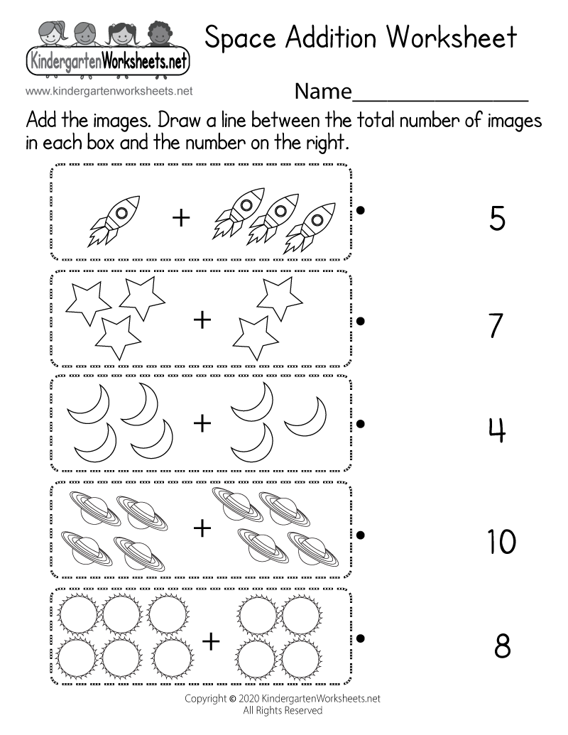 Kindergarten Space Math Worksheet Printable