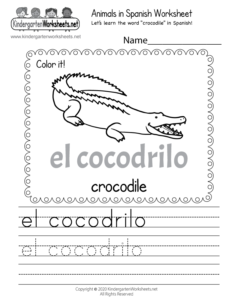 Printable Spanish Worksheet Free Kindergarten Learning