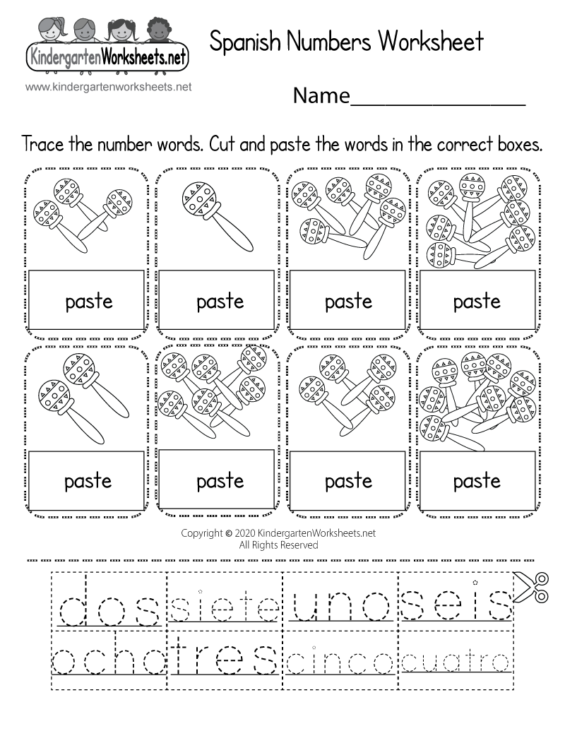 spanish number worksheet free kindergarten learning worksheet for kids. Black Bedroom Furniture Sets. Home Design Ideas