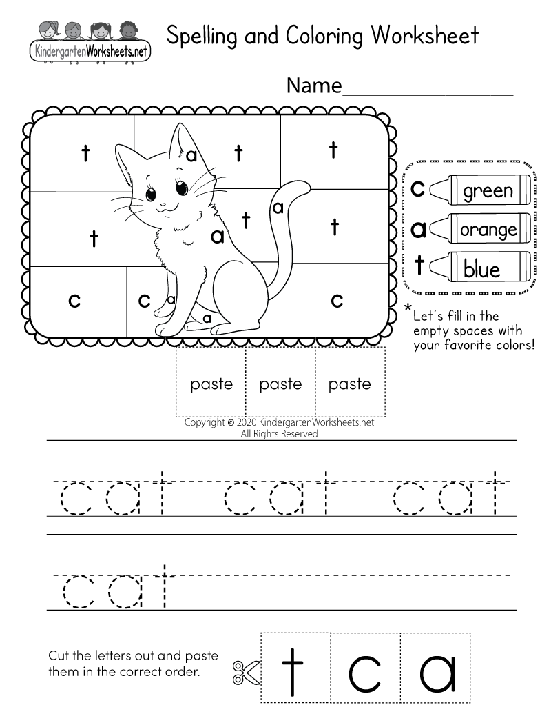 Practice Spelling the Word Cat Worksheet for Kindergarten ...
