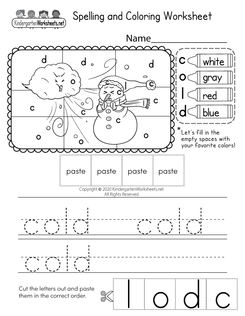 Kindergarten Spelling Activity Worksheet Printable