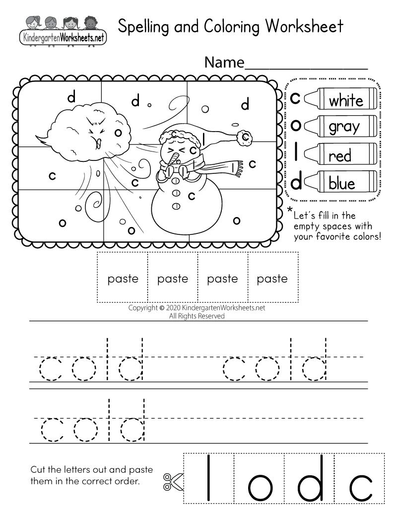 spelling activity worksheet free kindergarten english worksheet for kids. Black Bedroom Furniture Sets. Home Design Ideas