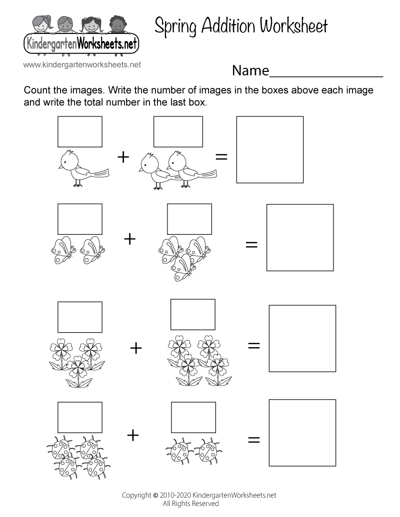 spring addition worksheet free kindergarten seasonal worksheet for kids. Black Bedroom Furniture Sets. Home Design Ideas
