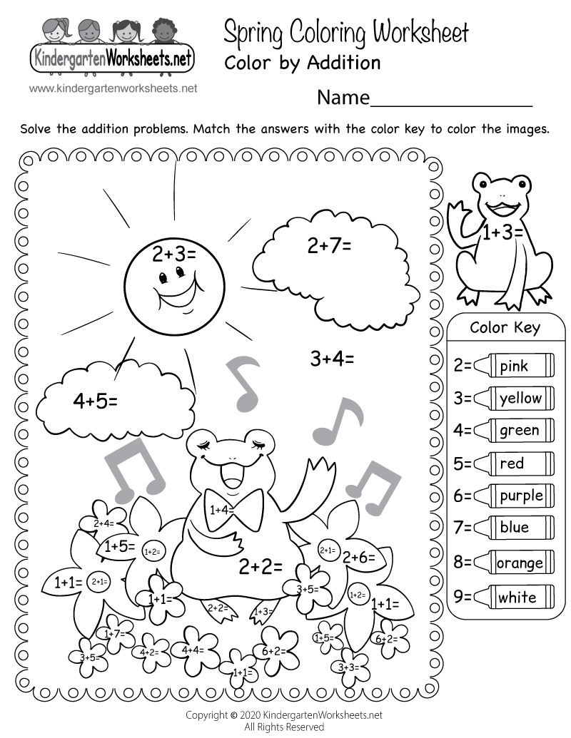 free printable spring coloring worksheet for kindergarten