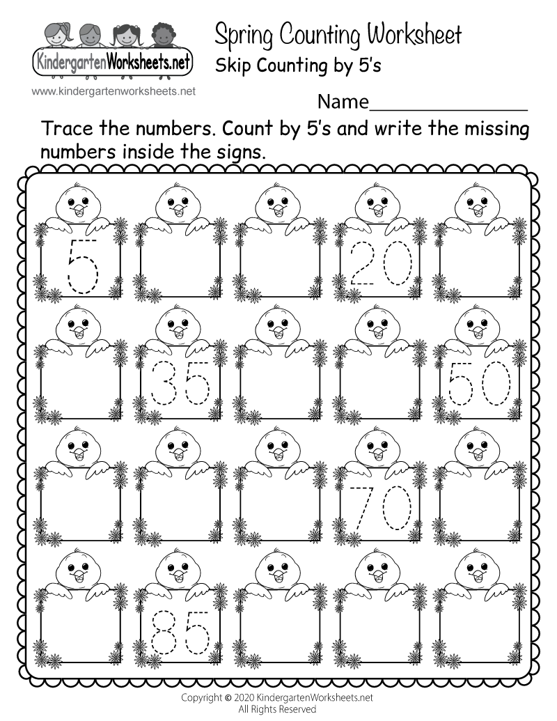 Spring Counting Worksheet Free Kindergarten Seasonal