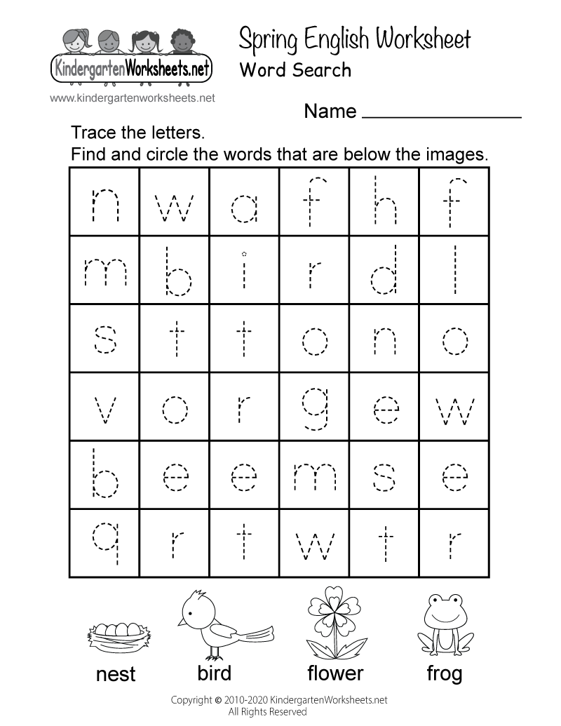 math worksheet : free kindergarten spring worksheets  learning is fun with spring  : Printable English Worksheets For Kindergarten