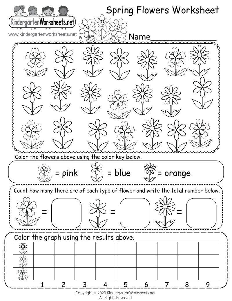 Kindergarten Spring Flowers Worksheet Printable