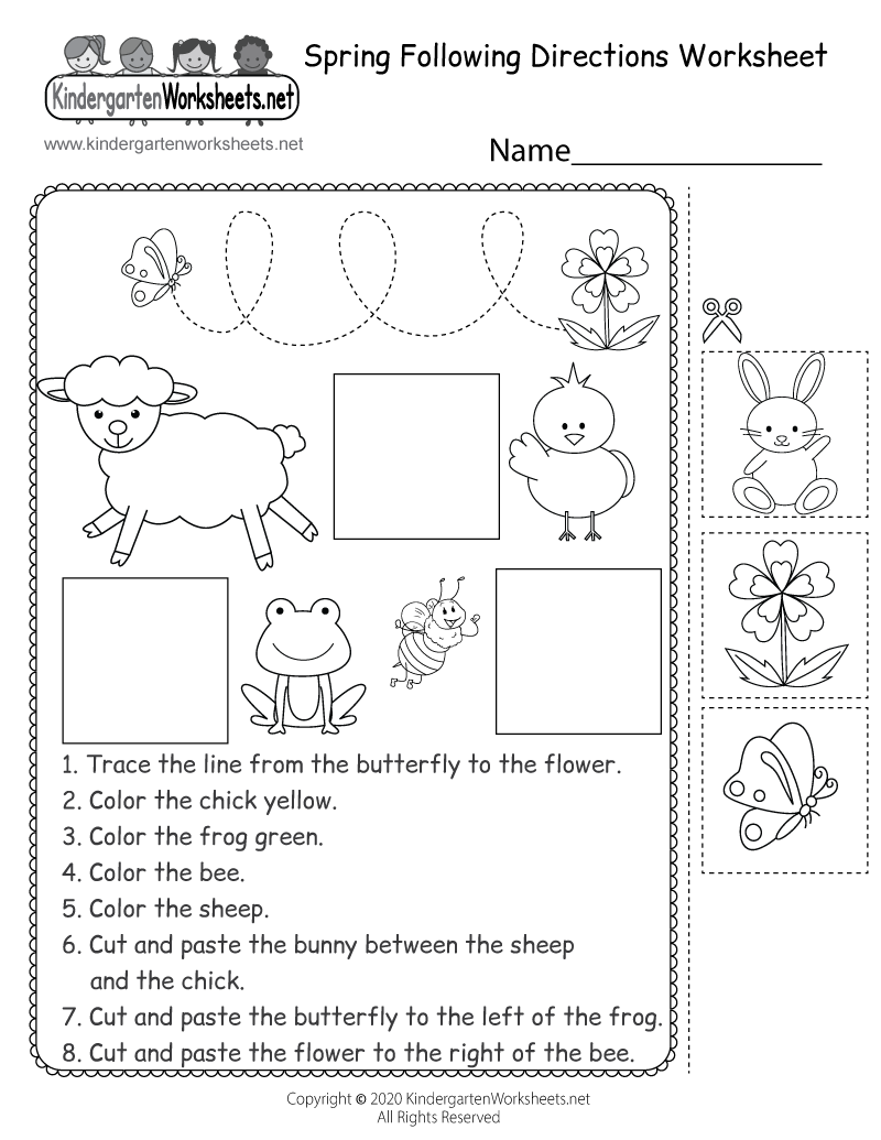 Free Printable Spring Following Directions Worksheet for Kindergarten