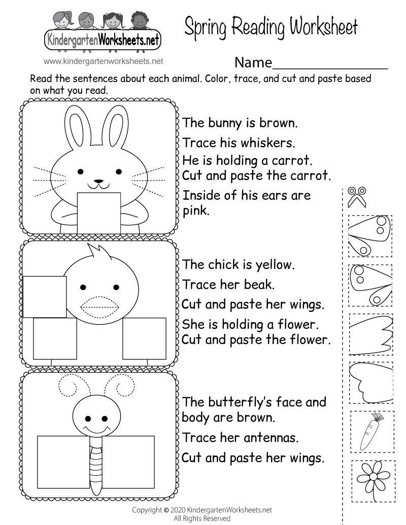 Worksheets Worksheet For Kindergarten Reading spring reading worksheet free kindergarten holiday for printable