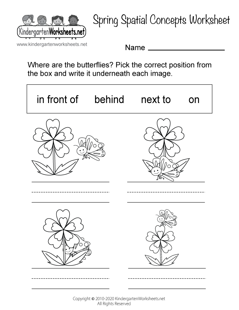 Free Printable Spring Spatial Concepts Worksheet for Kindergarten