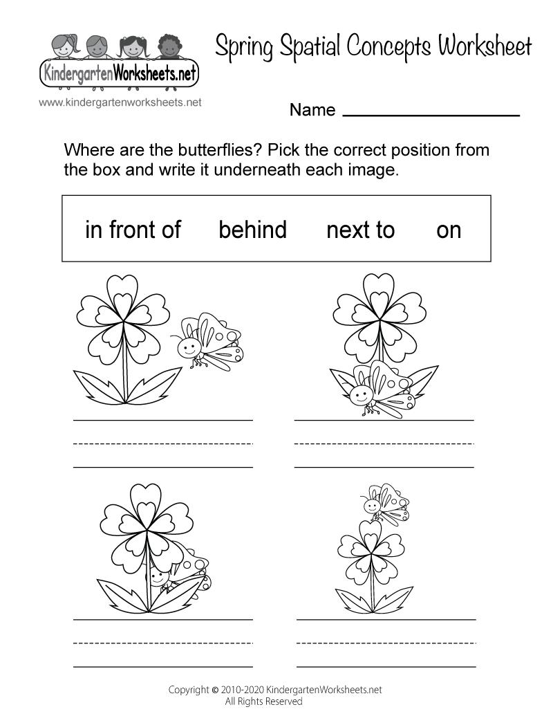Workbooks position worksheets : Free Printable Spring Spatial Concepts Worksheet for Kindergarten