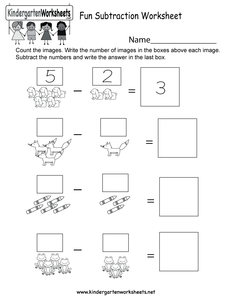 math worksheet : fun subtraction worksheet  free kindergarten math worksheet for kids : Subtraction Worksheet For Kids