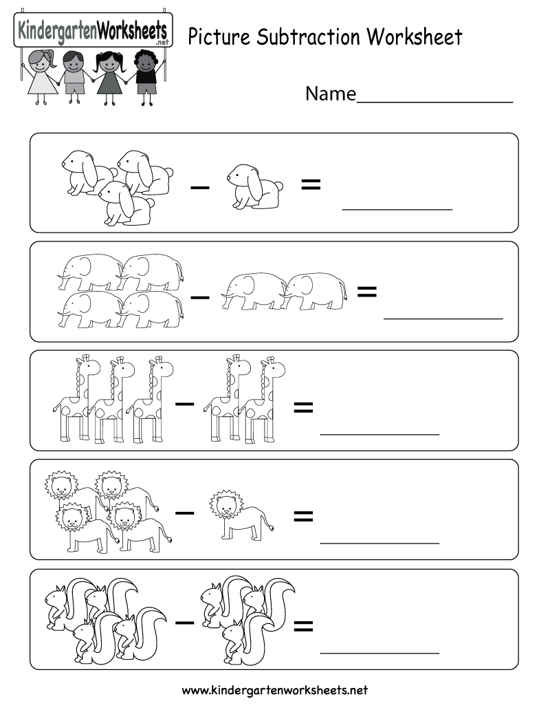 Picture Subtraction Worksheet - Free Kindergarten Math Worksheet for ...