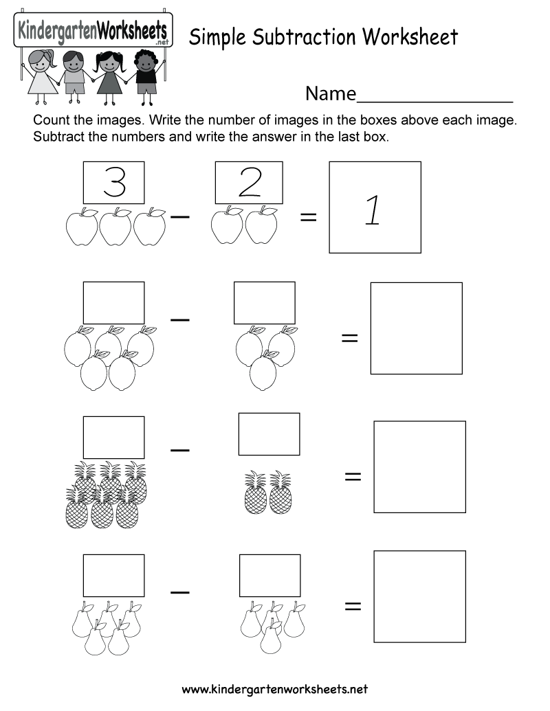 Simple Subtraction Worksheet - Free Kindergarten Math Worksheet for Kids