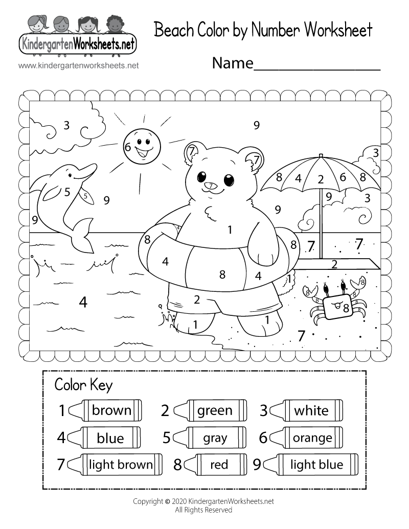 Kindergarten Beach Coloring Page Printable