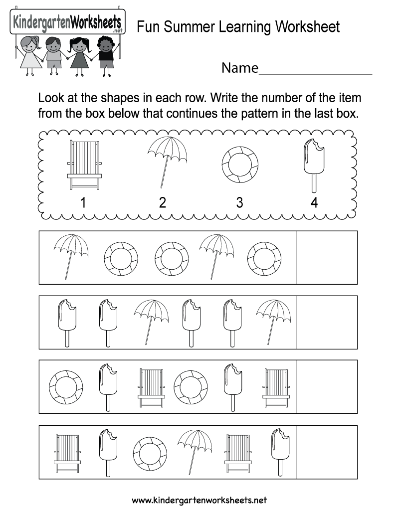 Free Printable Fun Summer Learning Worksheet for Kindergarten