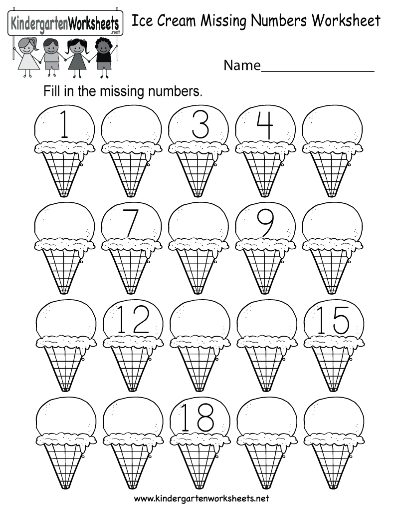 ice cream missing numbers 1 20 worksheet for kindergarten free printable. Black Bedroom Furniture Sets. Home Design Ideas