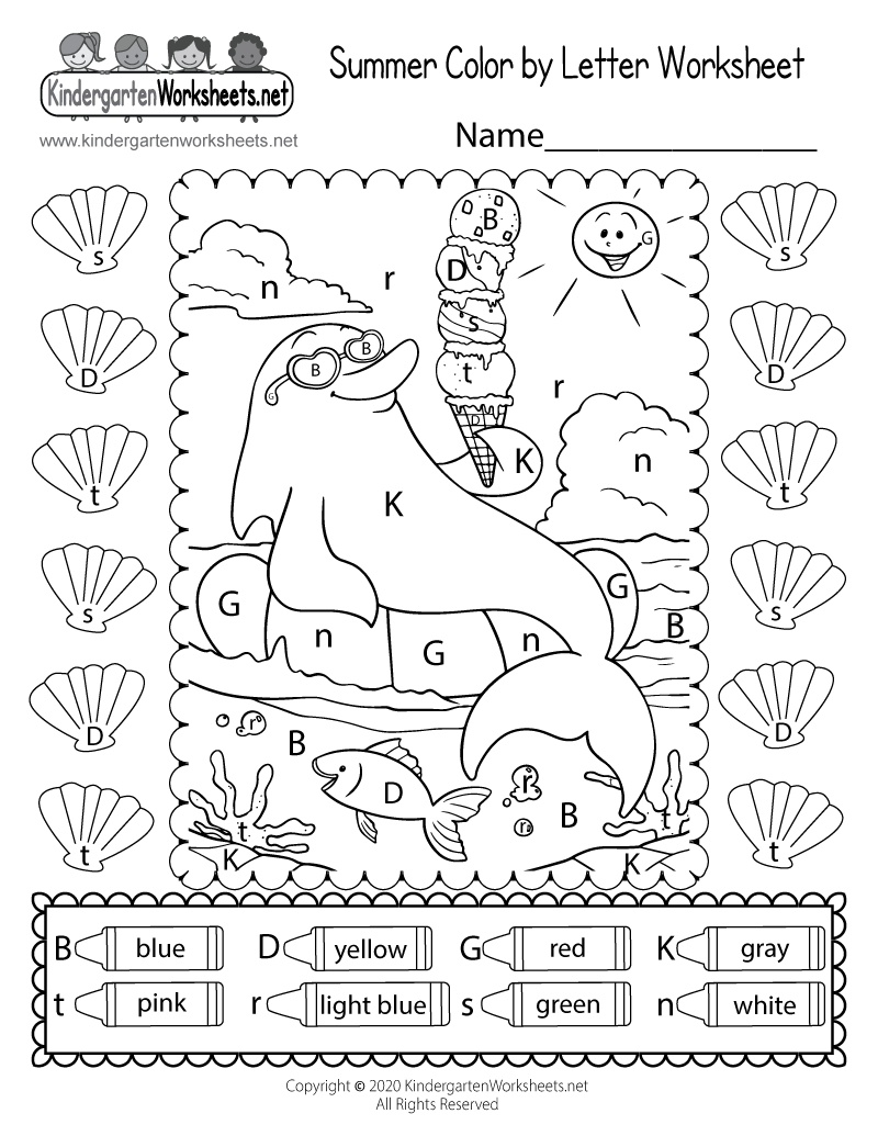 Cute Summer Coloring Page for Kindergarten - Color by Letter