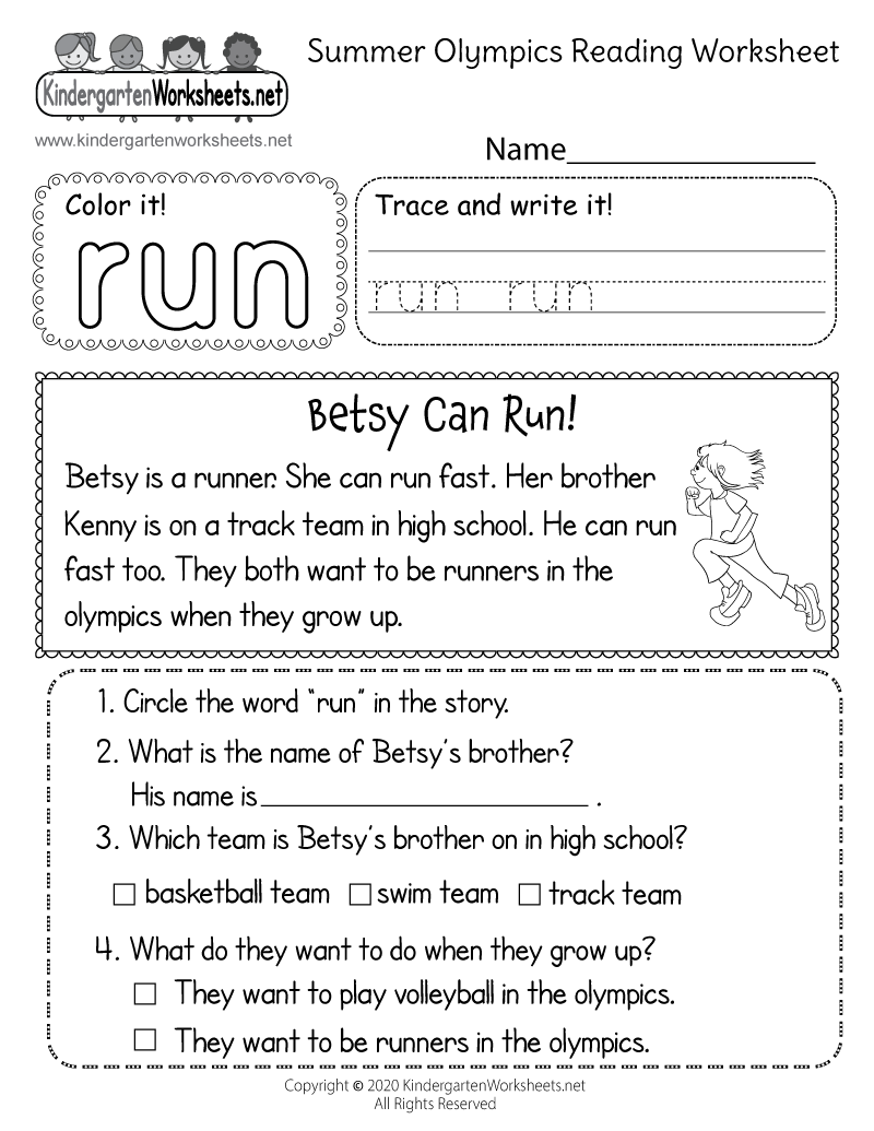 Kindergarten Summer Olympics Reading Worksheet Printable
