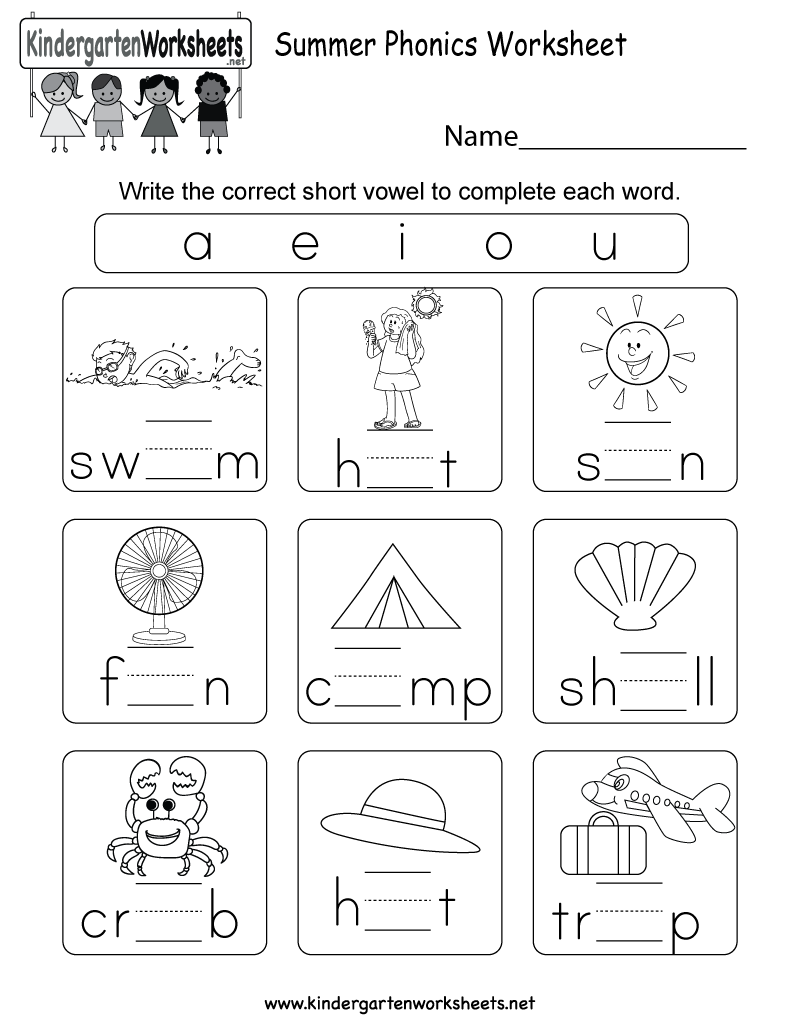 graphic about Printable Phonic Worksheets titled Cost-free Printable Summer months Phonics Worksheet for Kindergarten