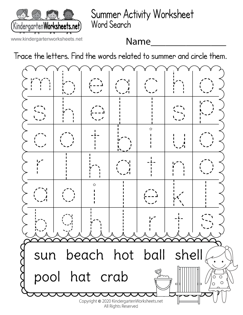 math worksheet : summer themed activity worksheet  free kindergarten holiday  : Activity Worksheets For Kindergarten