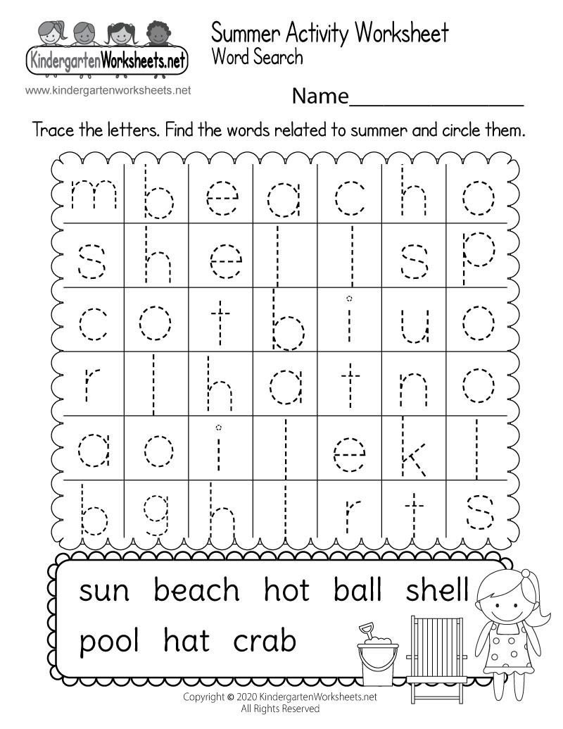 picture regarding Free Printable Summer Worksheets known as Absolutely free Printable Summertime Themed Video game Worksheet for Kindergarten