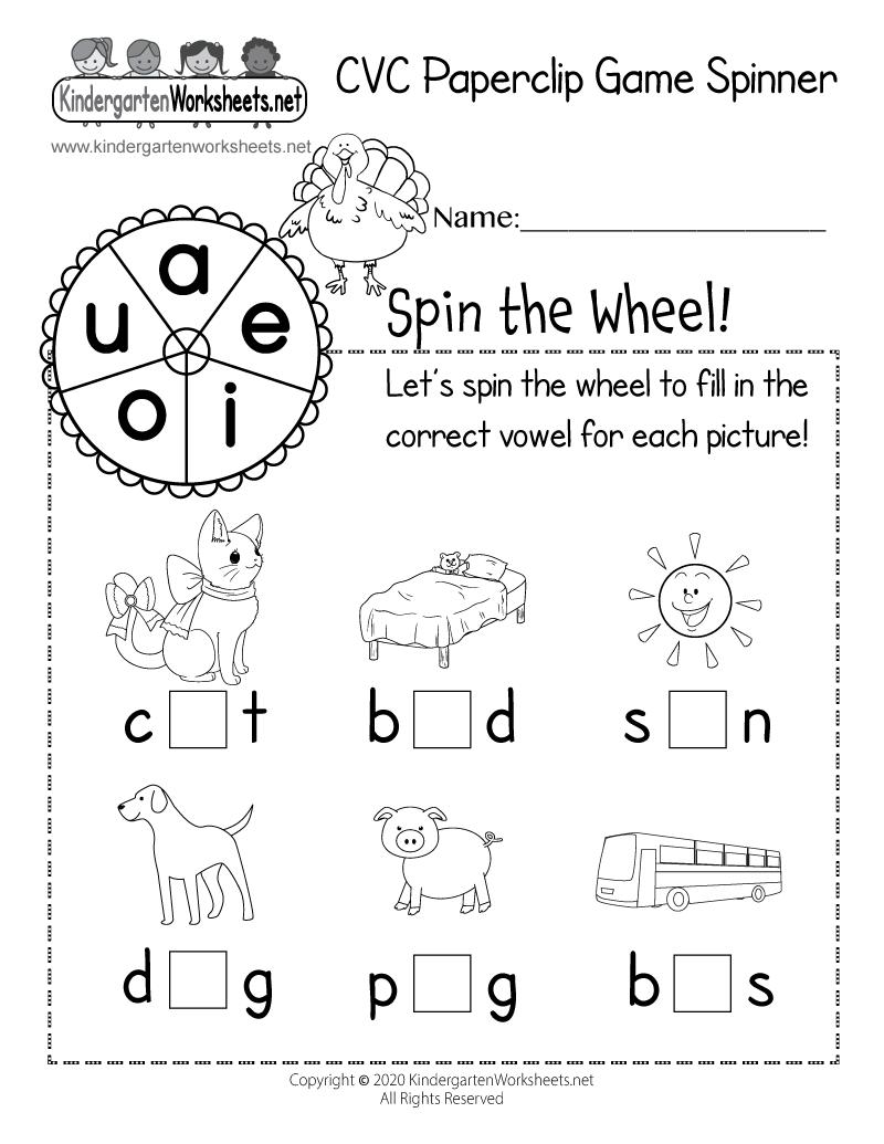 Kindergarten CVC Paperclip Game Spinner Worksheet Printable