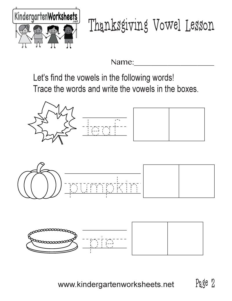 Kindergarten Find the Vowels Worksheet Printable