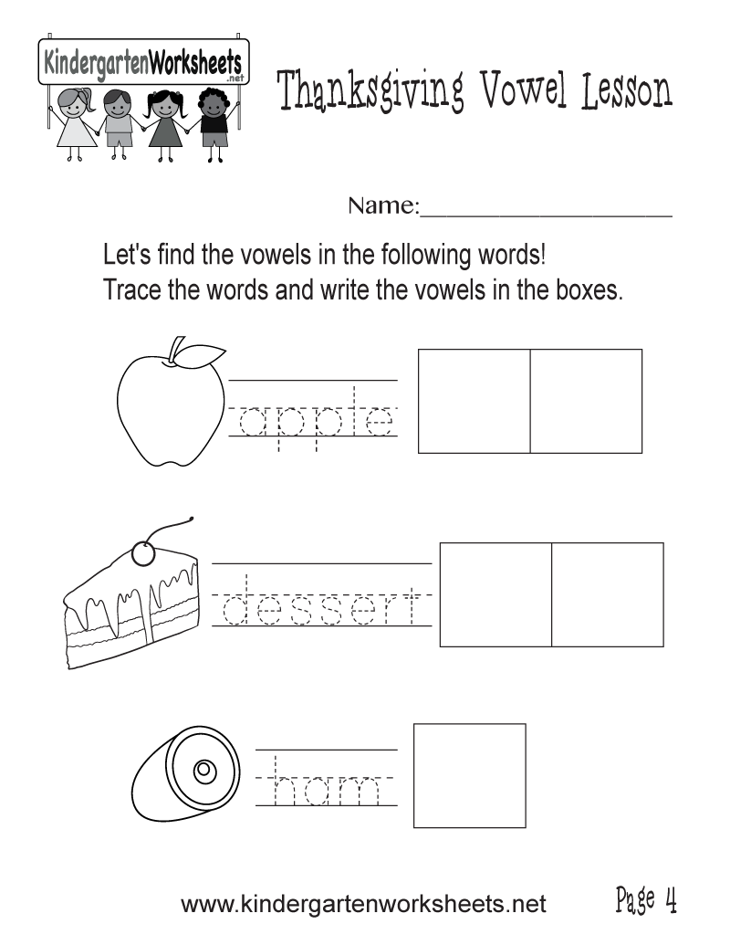 Free Printable Find Vowels in Food Worksheet for Kindergarten