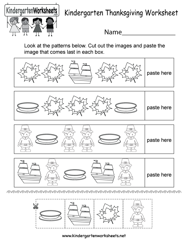 Thanksgiving Worksheet - Free Kindergarten Holiday Worksheet for Kids