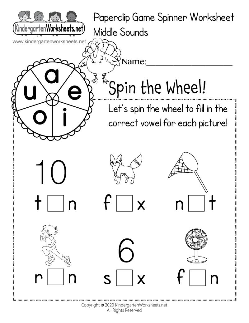 Kindergarten Middle Sounds Paperclip Game Spinner Worksheet Printable