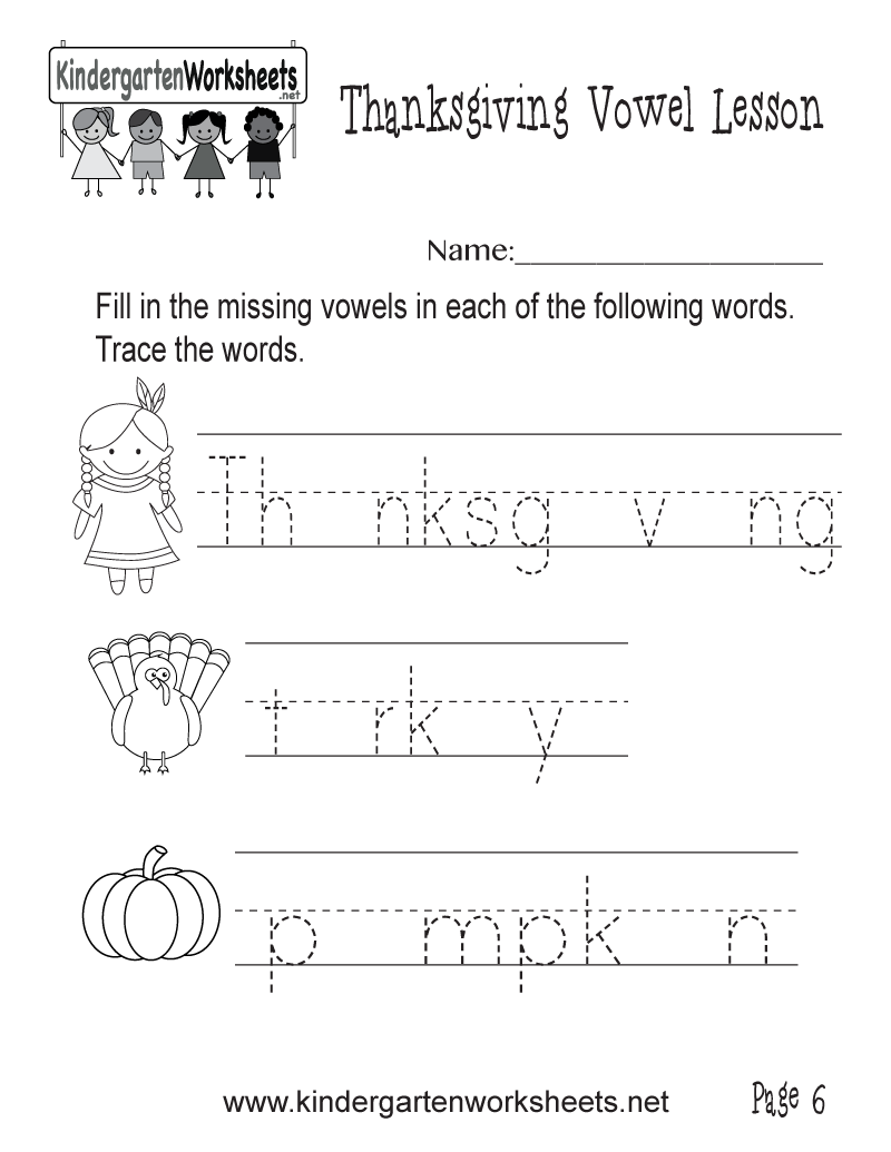 photograph about Thanksgiving Puzzles Printable Free named Totally free Printable Lost Vowels Thanksgiving Worksheet for