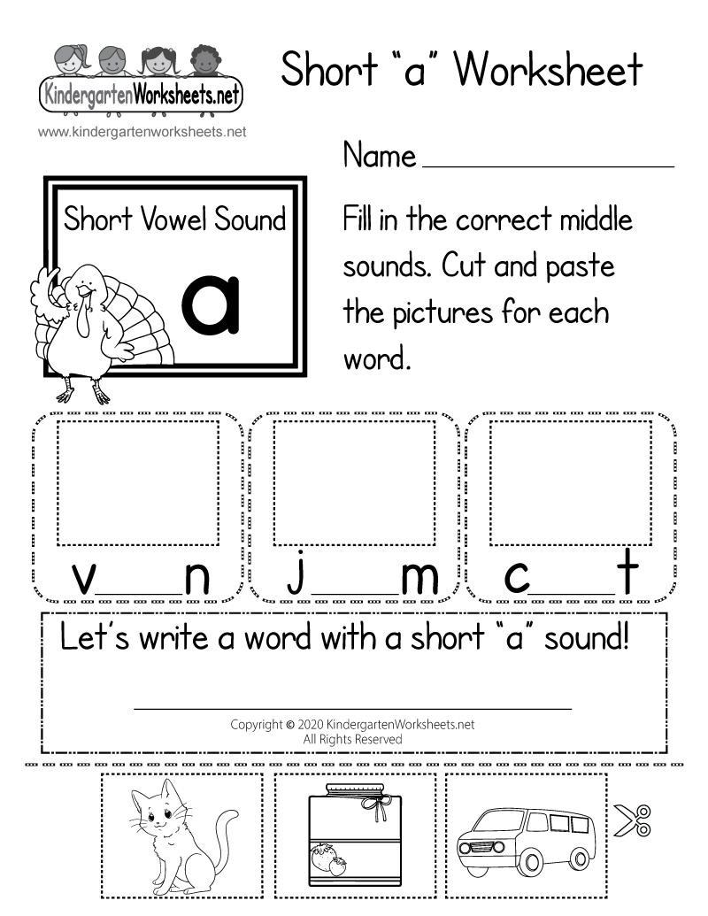 Kindergarten Short a Worksheet Printable