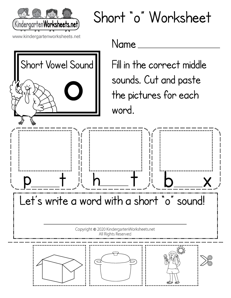 Kindergarten Short o Worksheet Printable