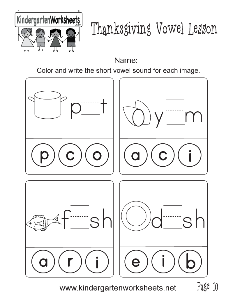 Worksheets Short Vowel Worksheets short vowel sounds worksheet thanksgiving lesson page 10 kindergarten printable