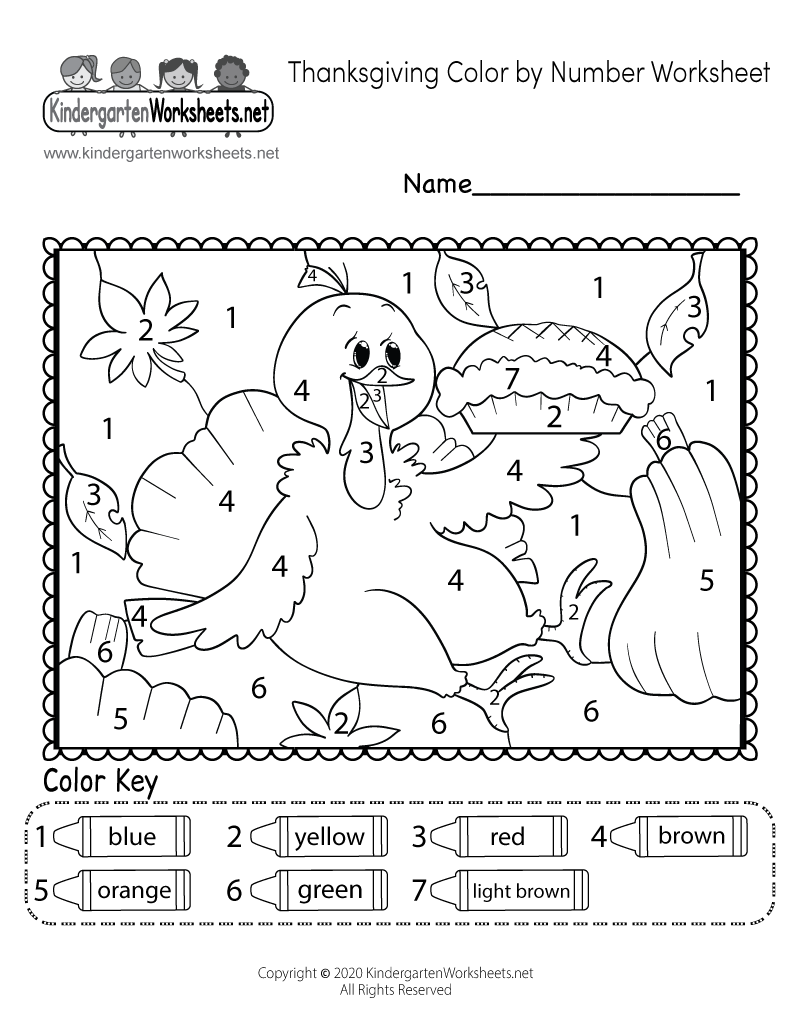 kindergarten thanksgiving coloring worksheet printable - Thanksgiving Coloring Worksheets