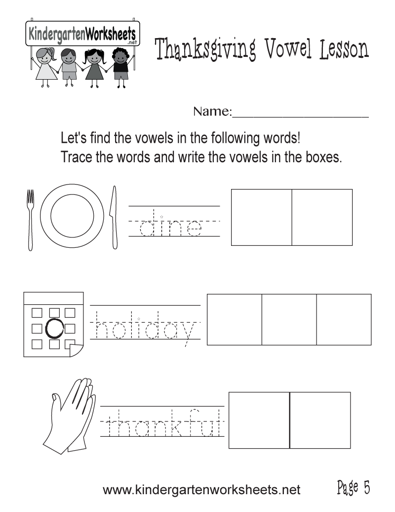 Vowel Practice Holiday Worksheet (Thanksgiving Vowel Lesson, Page 5)