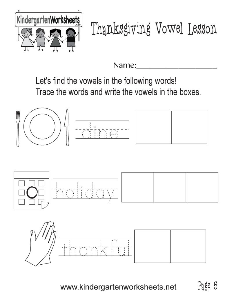 Kindergarten Vowel Practice Holiday Worksheet Printable