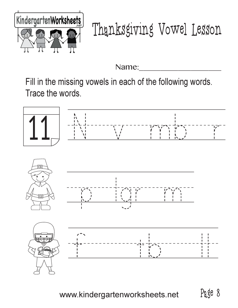 Kindergarten Write the Missing Vowels Worksheet Printable