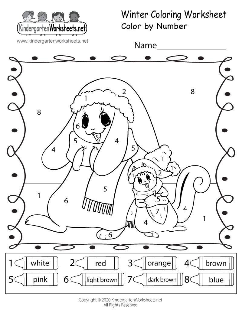 math worksheet : free printable winter coloring worksheet for kindergarten : Color Worksheet For Kindergarten