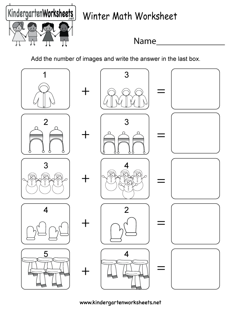 Winter Math Worksheet Free Kindergarten Holiday For Kids