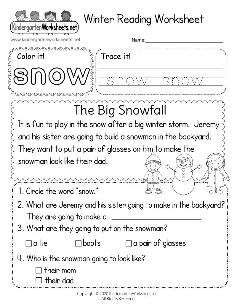 Kindergarten Winter Reading Worksheet Printable