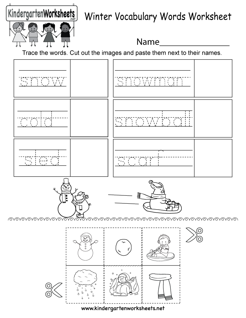 Kindergarten Winter Vocabulary Words Worksheet Printable