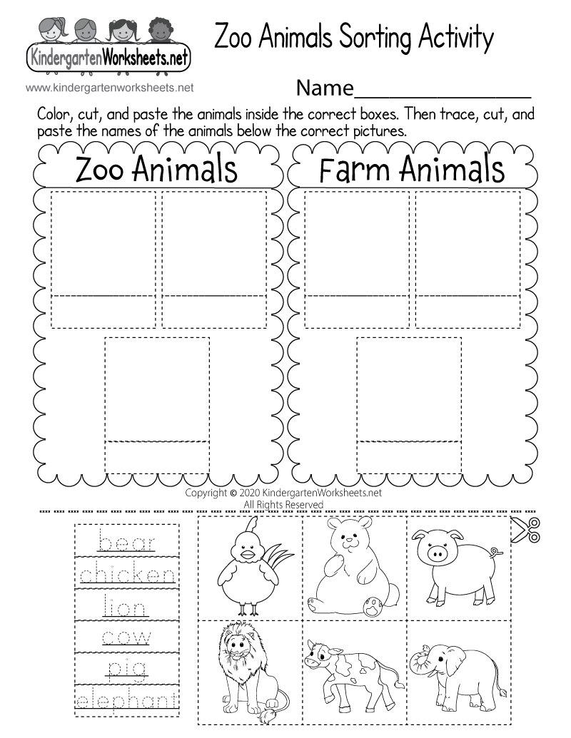 Free Kindergarten Zoo Worksheets Learning with cute animals – Animals Worksheet for Kindergarten