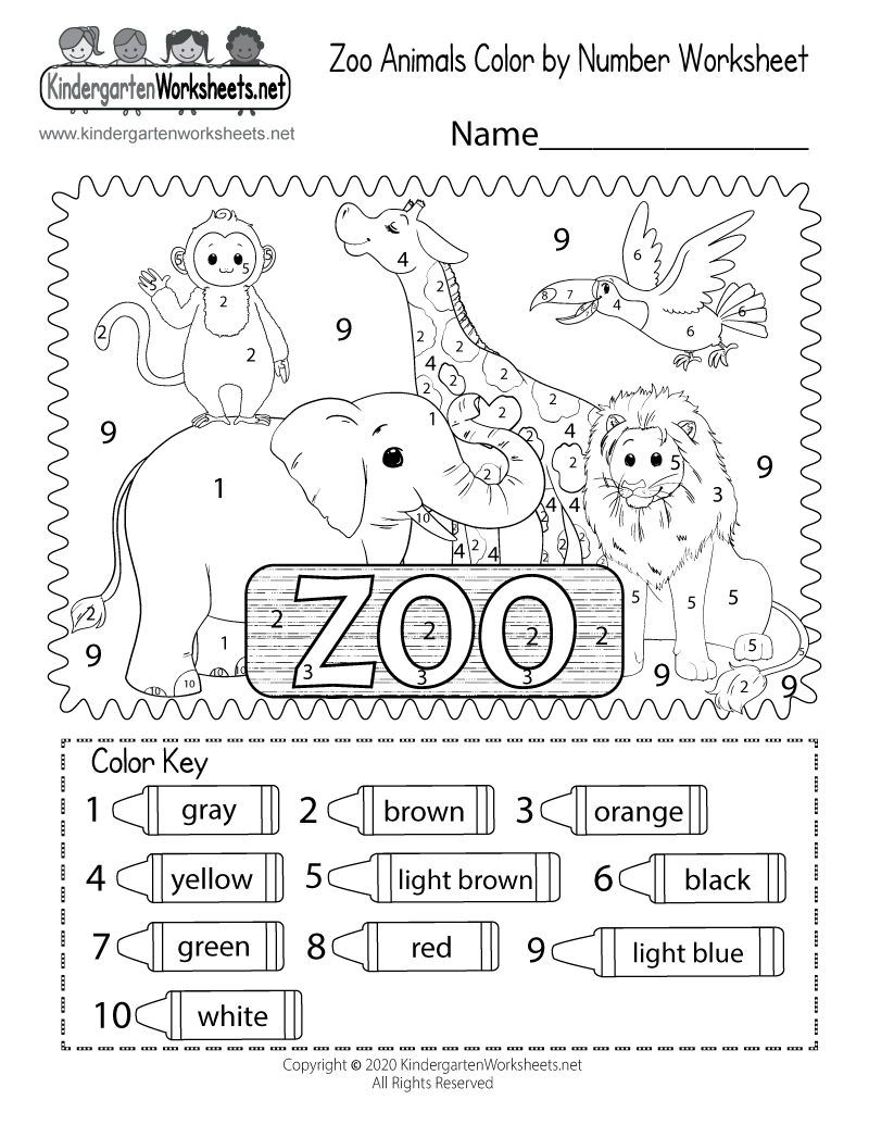 zoo coloring worksheet free kindergarten learning worksheet for kids. Black Bedroom Furniture Sets. Home Design Ideas